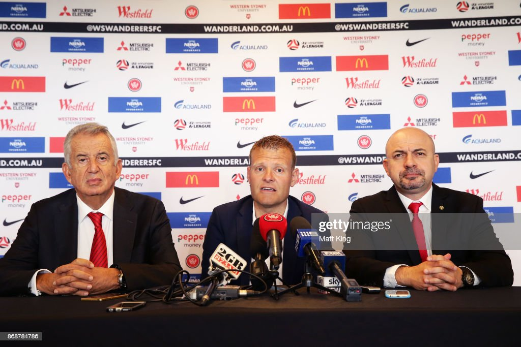 Josep Gombau (C) alongside Wanderers Chairman Paul Lederer (L) and Wanderers CEO John Tsatsimas (R) speaks to the media after being announced as the new Wanderers head coach during a Western Sydney Wanderers Media Opportunity at Blacktown International Sportspark on November 1, 2017 in Sydney, Australia.