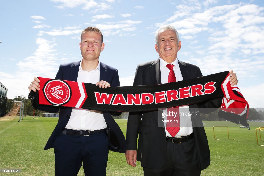 Josep Gombau (L) alongside Wanderers Chairman Paul Lederer (R) poses after being announced as the new Wanderers head coach during a Western Sydney Wanderers Media Opportunity at Blacktown International Sportspark on November 1, 2017 in Sydney, Australia.