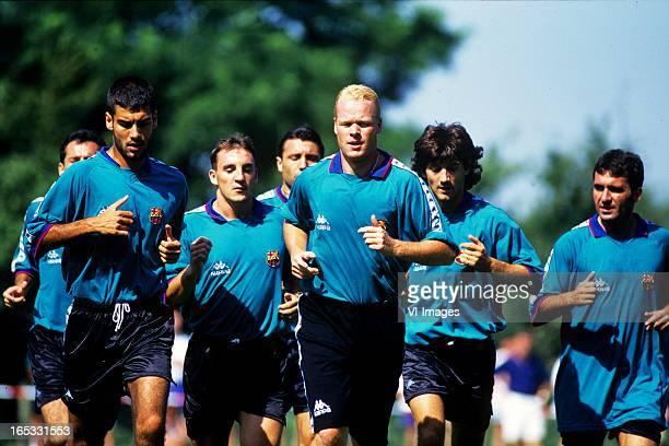 Josep Guardiola Albert Ferrer Hristo Stoitchkov Ronald Koeman Jose Maria Bakero Gheorghe Hagi during a training of Barcelona