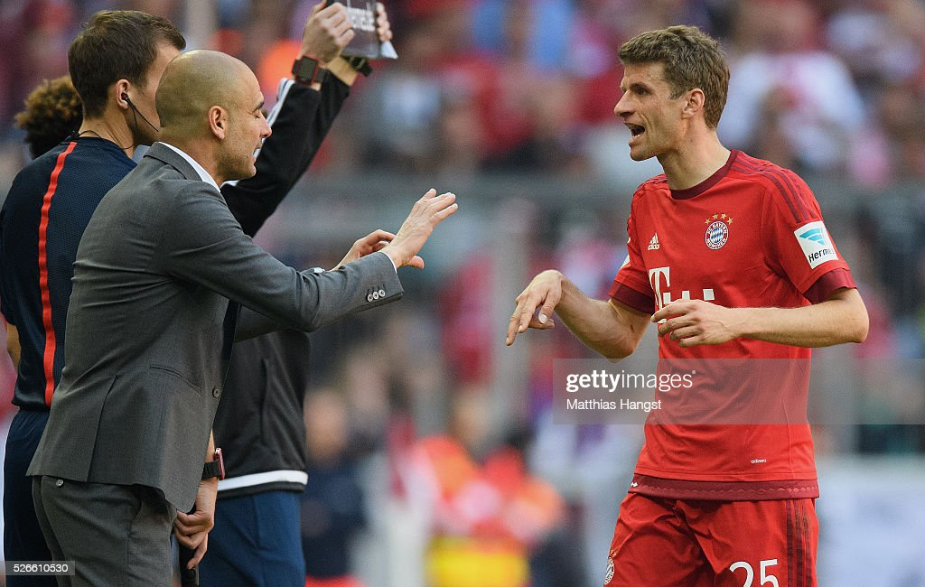 <a gi-track='captionPersonalityLinkClicked' href=/galleries/search?phrase=Josep+Guardiola&family=editorial&specificpeople=2088964 ng-click='$event.stopPropagation()'>Josep Guardiola</a> (L), coach of Bayern Muenchen instructs to his player <a gi-track='captionPersonalityLinkClicked' href=/galleries/search?phrase=Thomas+Mueller&family=editorial&specificpeople=5842906 ng-click='$event.stopPropagation()'>Thomas Mueller</a> of Muenchen (R) during the Bundesliga match between FC Bayern Muenchen and Borussia Moenchengladbach at Allianz Arena on April 30, 2016 in Munich, Germany.