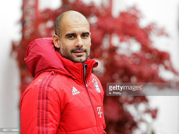 Josep Guardiola Head Coach of Bayern Muenchen arrives for FC Bayern Muenchen training on October 15 2015 in Munich Germany