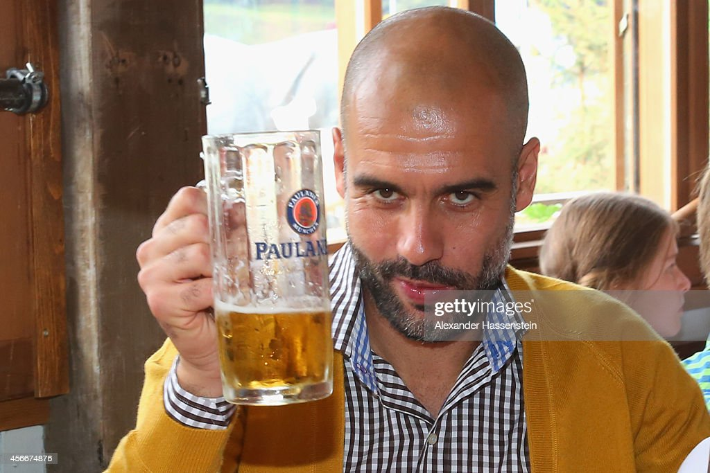 Josep Guardiola head coach of Bayern Muenchen attend the Oktoberfest beer festival at Kaefer Wiesnschaenke tent at Theresienwiese on October 5 2014...