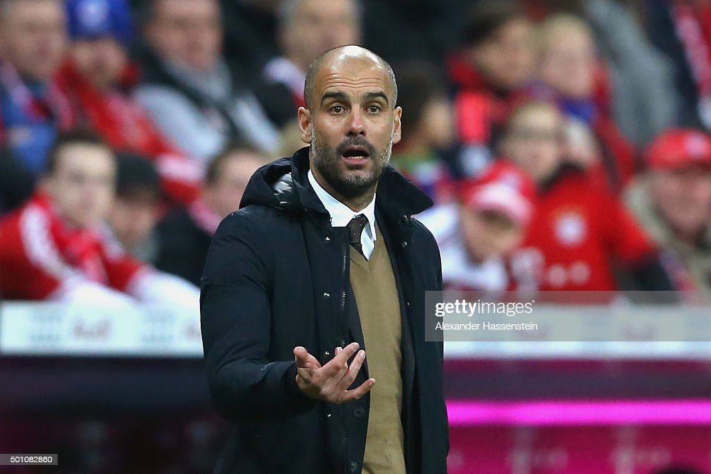 <a gi-track='captionPersonalityLinkClicked' href=/galleries/search?phrase=Josep+Guardiola&family=editorial&specificpeople=2088964 ng-click='$event.stopPropagation()'>Josep Guardiola</a>, head coach of Bayern Muenchen reacts during the Bundesliga match between FC Bayern Muenchen and FC Ingolstadt at Allianz Arena on December 12, 2015 in Munich, Germany.