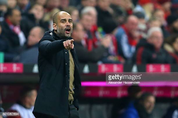 Josep Guardiola head coach of Bayern Muenchen reacts during the Bundesliga match between FC Bayern Muenchen and FC Ingolstadt at Allianz Arena on...