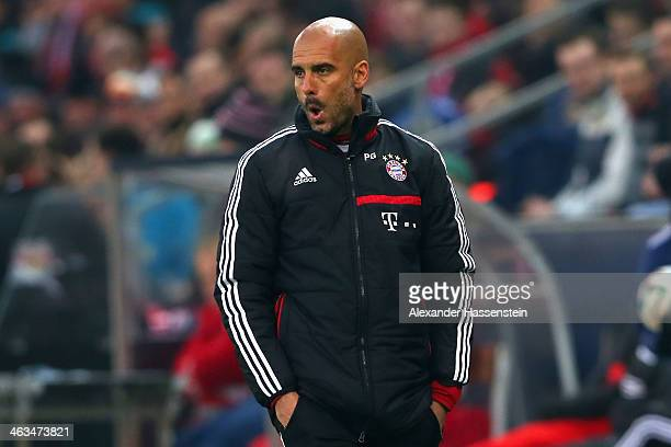 Josep Guardiola head coach of Bayern Muenchen reacts during the friendly match between Red Bull Salzburg and FC Bayern Muenchen at Red Bull Arena on...