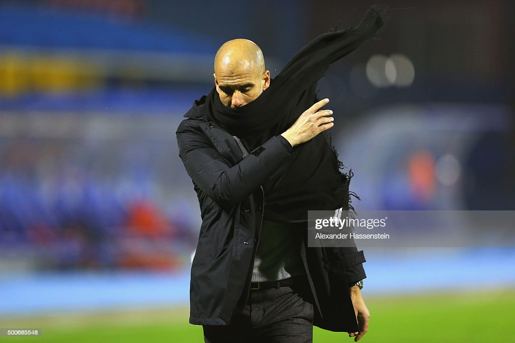 Josep Guardiola, head coach of Bayern Muenchen reacts during the UEFA Champions League Group F match between GNK Dinamo Zagreb and FC Bayern Munchen at Maksimir Stadium on December 9, 2015 in Zagreb, Croatia.