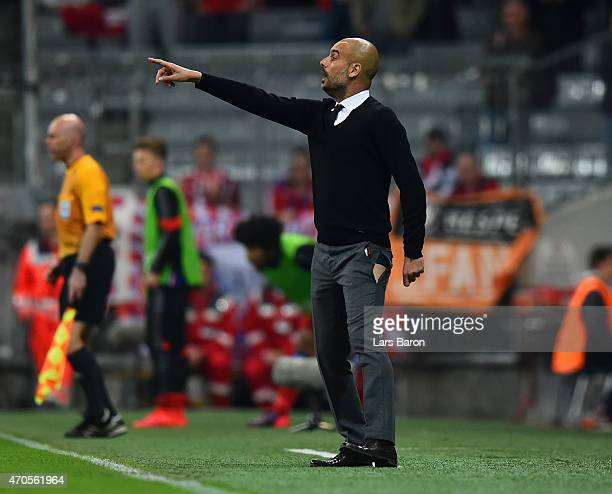 Josep Guardiola head coach of Bayern Muenchen rips his trousers on the leg during the UEFA Champions League Quarter Final Second Leg match between FC...