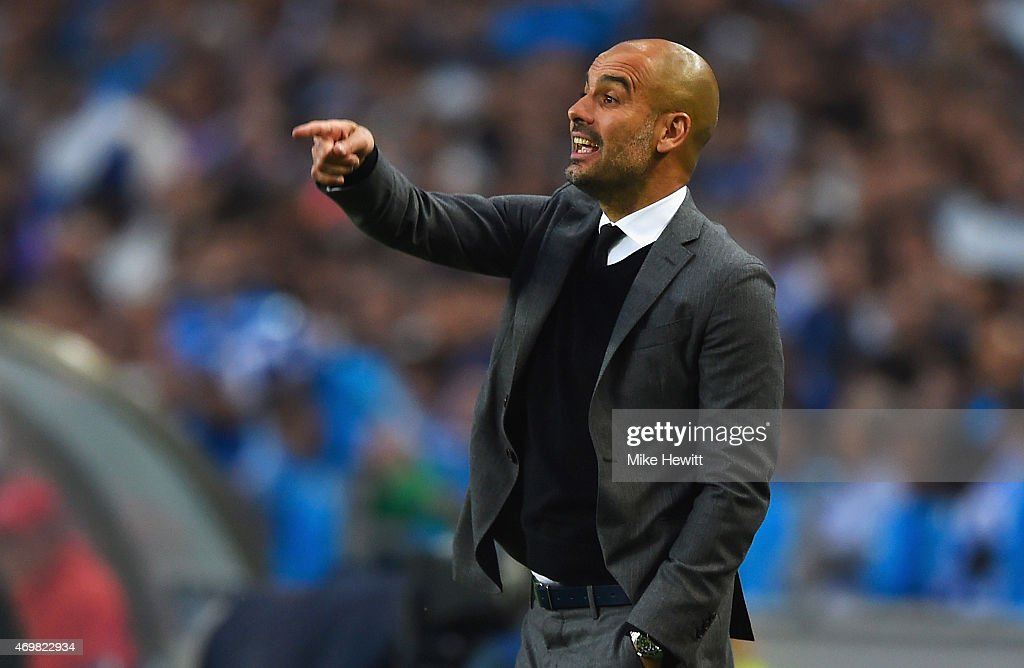 <a gi-track='captionPersonalityLinkClicked' href=/galleries/search?phrase=Josep+Guardiola&family=editorial&specificpeople=2088964 ng-click='$event.stopPropagation()'>Josep Guardiola</a> head coach of Bayern Muenchen signals during the UEFA Champions League Quarter Final first leg match between FC Porto and FC Bayern Muenchen at Estadio do Dragao on April 15, 2015 in Porto, Portugal.