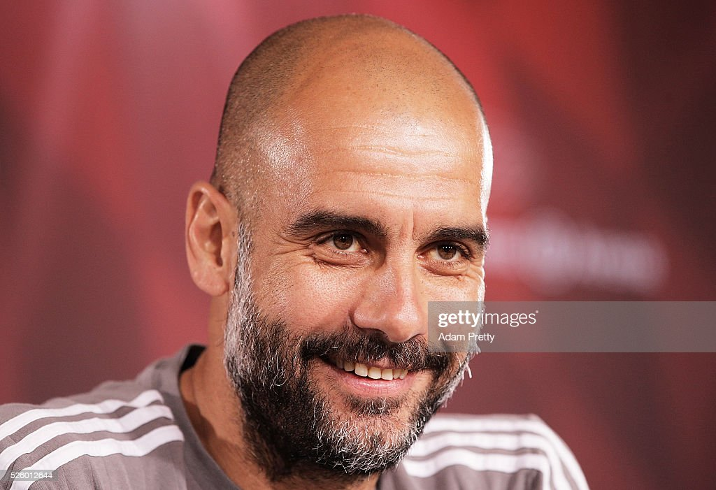 <a gi-track='captionPersonalityLinkClicked' href=/galleries/search?phrase=Josep+Guardiola&family=editorial&specificpeople=2088964 ng-click='$event.stopPropagation()'>Josep Guardiola</a> head coach of Bayern Muenchen speaks to the media at a press conference at the FC Bayern Muenchen Saebener Strasse training grounds on on April 29, 2016 in Munich, Bavaria.