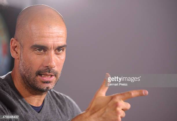 Josep Guardiola head coach of FC Bayern Muenchen addresses the media during a press conference on April 17 2015 in Munich Germany