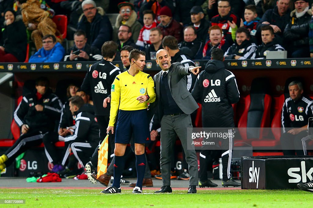 <a gi-track='captionPersonalityLinkClicked' href=/galleries/search?phrase=Josep+Guardiola&family=editorial&specificpeople=2088964 ng-click='$event.stopPropagation()'>Josep Guardiola</a>, Head Coach of FC Bayern Muenchen argues with an assistant referee during the Bundesliga match between Bayer Leverkusen and FC Bayern Muenchen at BayArena on February 6, 2016 in Leverkusen, Germany.