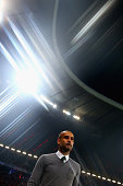 Josep Guardiola head coach of FC Bayern Muenchen arrives for the UEFA Champions League Group E match between Bayern Munchen and Manchester City at...