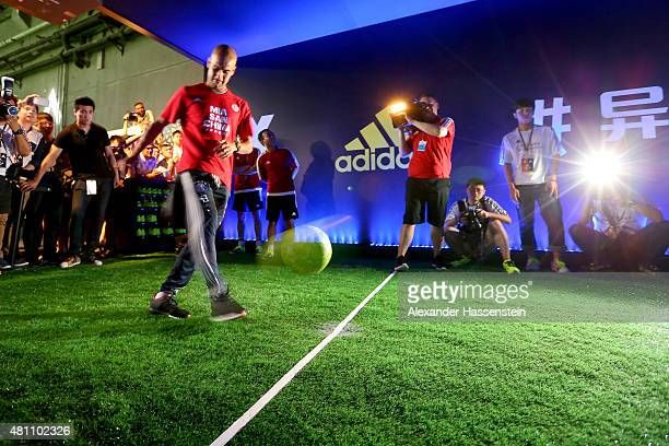 Josep Guardiola head coach of FC Bayern Muenchen attends a adidas 2 vs 2 urban football match promotion even at Beijing Film Director Center during...