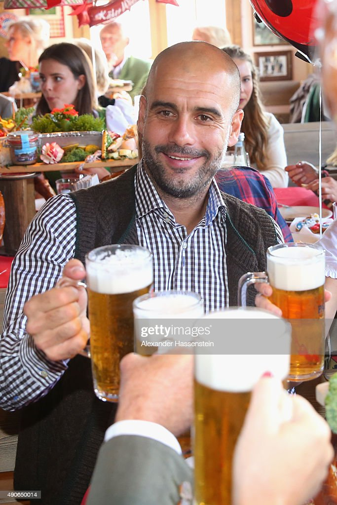 Josep Guardiola, head coach of FC Bayern Muenchen attends the Oktoberfest 2015 Beerfestival at Kaefer Wiesenschaenke at Theresienwiese on September 30, 2015 in Munich, Germany.