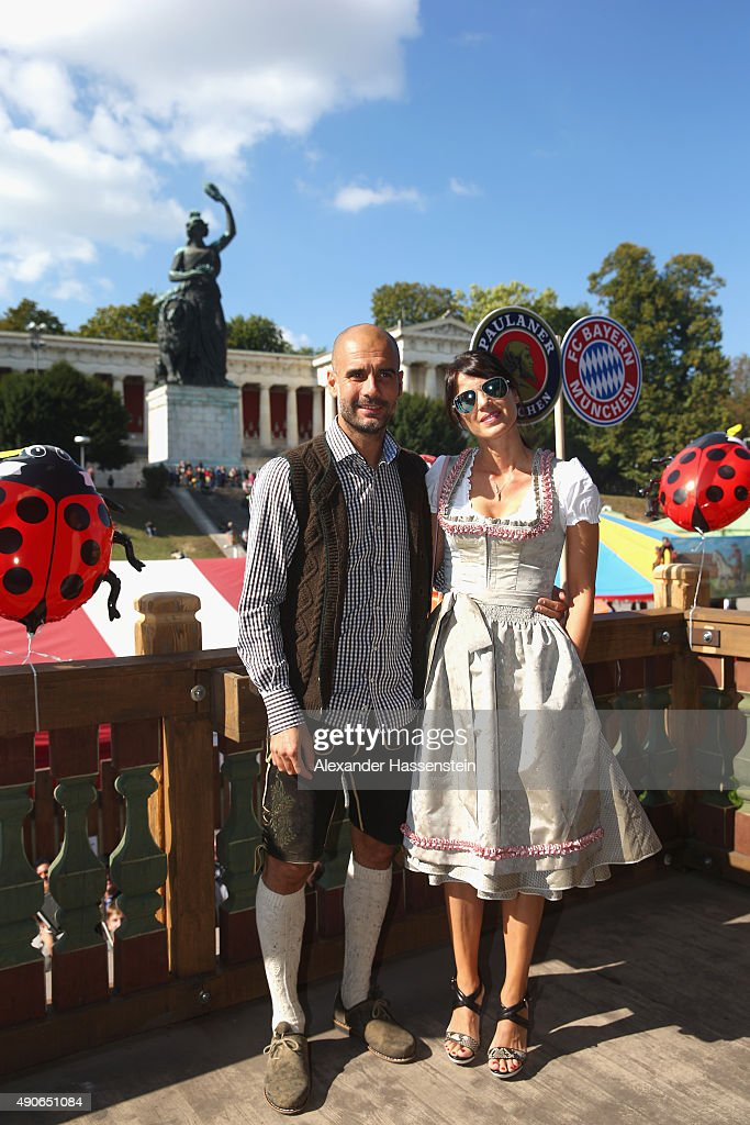 Josep Guardiola, head coach of FC Bayern Muenchen attends with his wife Cristina Guardiola the Oktoberfest 2015 Beerfestival at Kaefer Wiesenschaenke at Theresienwiese on September 30, 2015 in Munich, Germany.