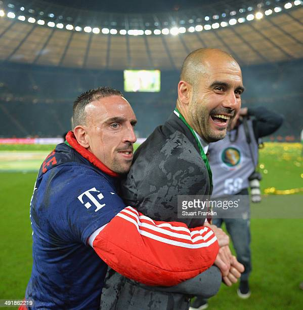 Josep Guardiola head coach of FC Bayern Muenchen gets hugged by Franck Ribery after winning the DFB Pokal between FC Bayern Muenchen and Dortmund at...
