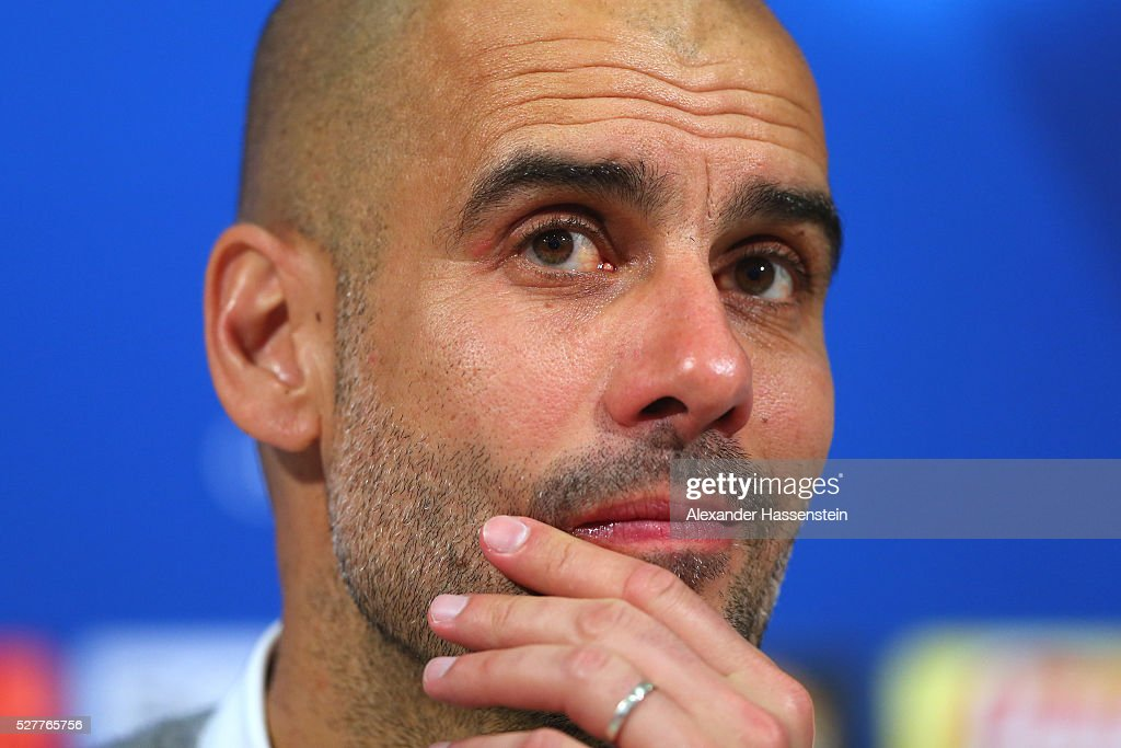 <a gi-track='captionPersonalityLinkClicked' href=/galleries/search?phrase=Josep+Guardiola&family=editorial&specificpeople=2088964 ng-click='$event.stopPropagation()'>Josep Guardiola</a>, head coach of FC Bayern Muenchen looks on during a press conference after the UEFA Champions League semi final second leg match between FC Bayern Muenchen and Club Atletico de Madrid at Allianz Arena on May 3, 2016 in Munich, Germany.