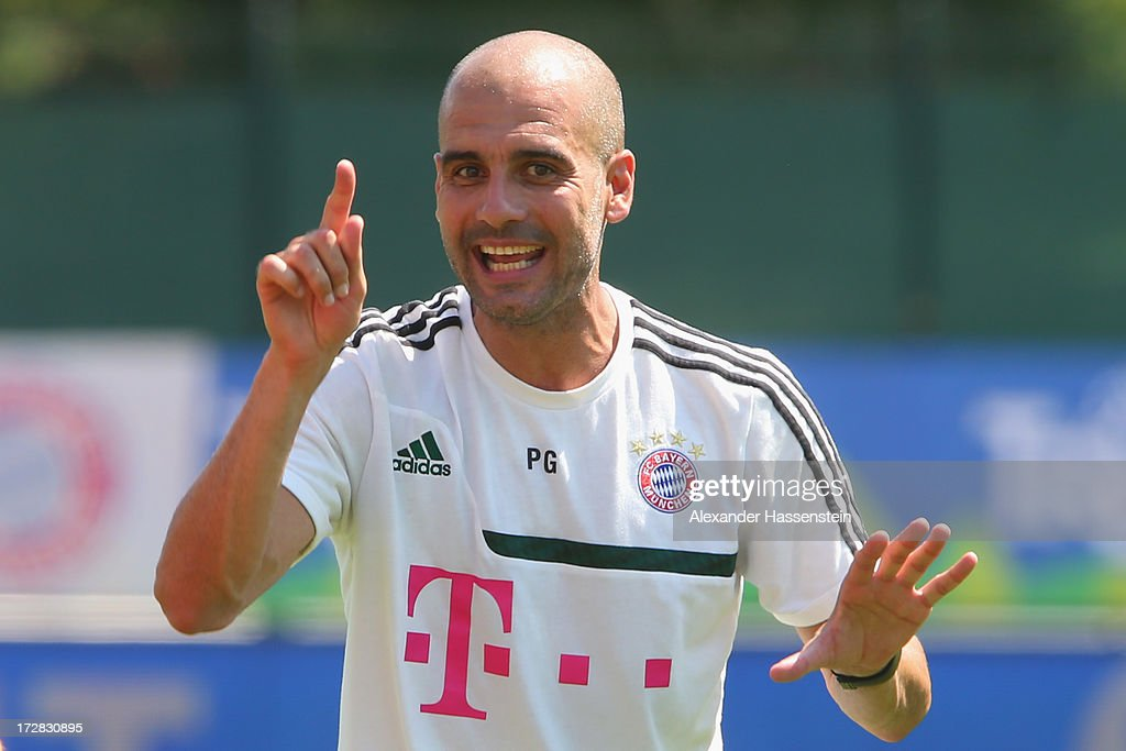 Josep Guardiola, head coach of FC Bayern Muenchen reacts during a training session at Campo Sportivo on July 5, 2013 in Arco, Italy.