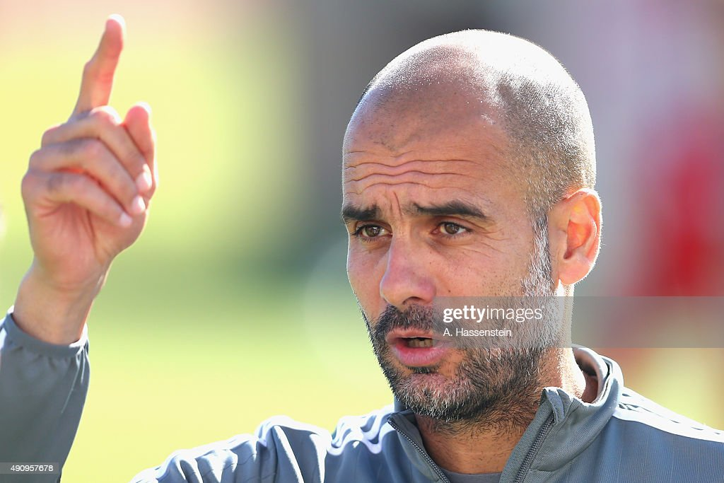 Josep Guardiola, head coach of FC Bayern Muenchen reacts during a training session at Bayern Muenchen's trainings ground Saebener Strasse on October 2, 2015 in Munich, Germany.