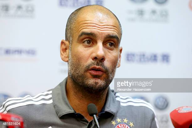 Josep Guardiola head coach of FC Bayern Muenchen talks to the media during a press conference at Tianhe Stadium on day 6 of the FC Bayern Audi China...