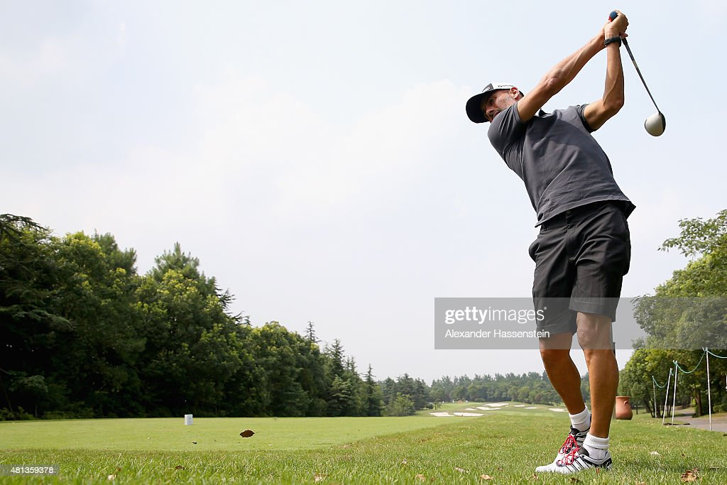 Josep Guardiola head coach of FC Bayern Muenchen tees off at the Audi quattro Cup 2015 at Sheshan Golf Club during day 4 of the FC Bayern Audi China...
