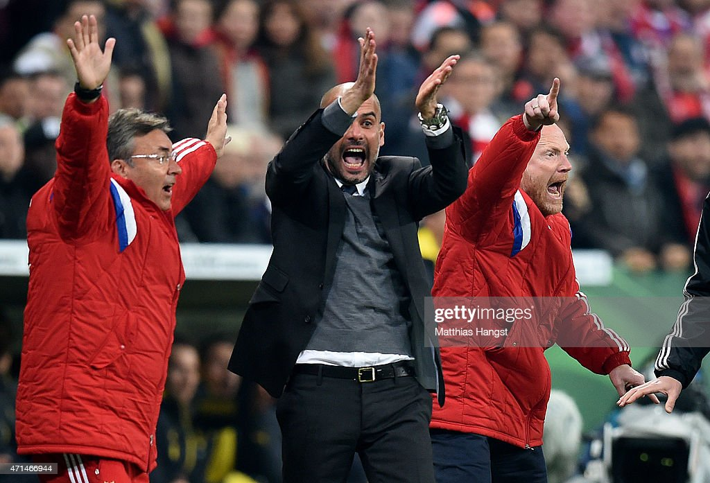 <a gi-track='captionPersonalityLinkClicked' href=/galleries/search?phrase=Josep+Guardiola&family=editorial&specificpeople=2088964 ng-click='$event.stopPropagation()'>Josep Guardiola</a>, head coach of Muenchen and Mathias Sammer, sports director of Muenchen react at an appeal for handball during the DFB Cup Semi Final match between FC Bayern Muenchen and Borussia Dortmund at Allianz Arena on April 28, 2015 in Munich, Germany.