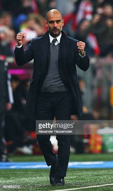 Josep Guardiola head coach of Muenchen celebrates during the Bundesliga match between FC Bayern Muenchen and 1 FC Koeln at Allianz Arena on February...