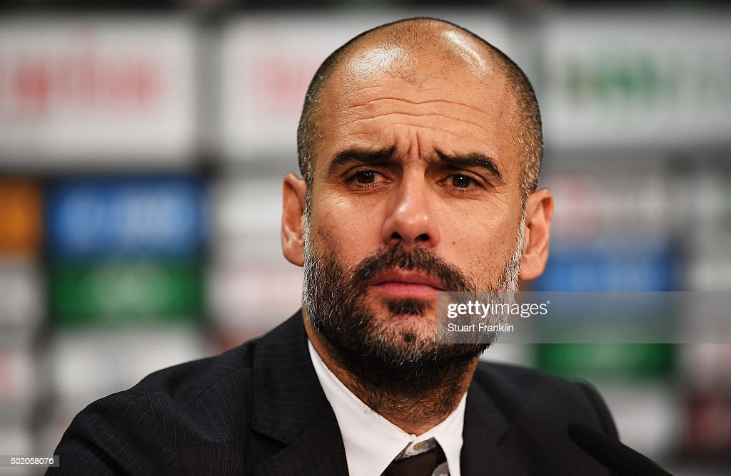 <a gi-track='captionPersonalityLinkClicked' href=/galleries/search?phrase=Josep+Guardiola&family=editorial&specificpeople=2088964 ng-click='$event.stopPropagation()'>Josep Guardiola</a>, head coach of Muenchen looks on during the press conference after the Bundesliga match between Hannover 96 and FC Bayern Muenchen at HDI-Arena on December 19, 2015 in Hanover, Germany.