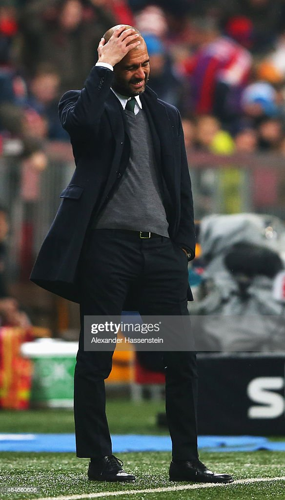 Josep Guardiola, head coach of Muenchen reacts during the Bundesliga match between FC Bayern Muenchen and 1. FC Koeln at Allianz Arena on February 27, 2015 in Munich, Germany.