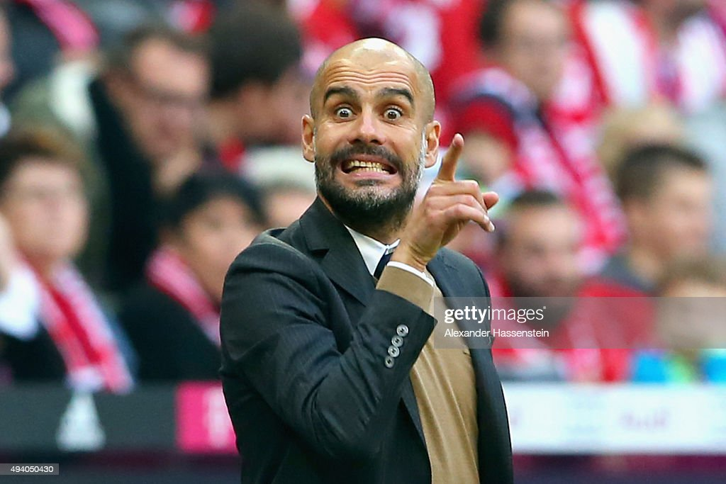 Josep Guardiola, head coach of Muenchen reacts during the Bundesliga match between FC Bayern Muenchen and 1. FC Koeln at Allianz Arena on October 24, 2015 in Munich, Germany.