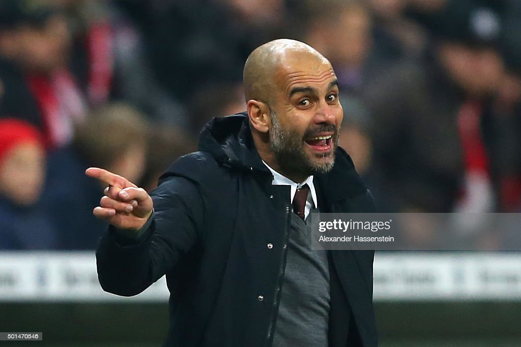 <a gi-track='captionPersonalityLinkClicked' href=/galleries/search?phrase=Josep+Guardiola&family=editorial&specificpeople=2088964 ng-click='$event.stopPropagation()'>Josep Guardiola</a>, head coach of Muenchen reacts during the round of 16 DFB Cup match between FC Bayern Muenchen and Darmstadt 98 at Allianz Arena on December 15, 2015 in Munich, Germany.