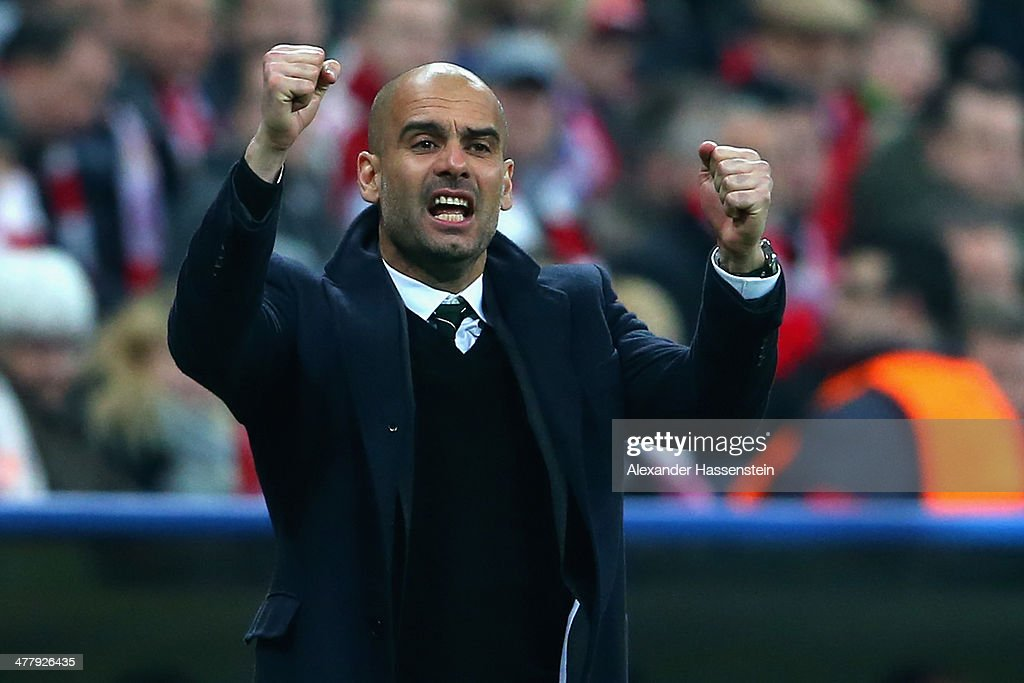 Josep Guardiola, head coach of Muenchen reacts during the UEFA Champions League Round of 16 second leg match between FC Bayern Muenchen and Arsenal FC at Allianz Arena on March 11, 2014 in Munich, Germany.
