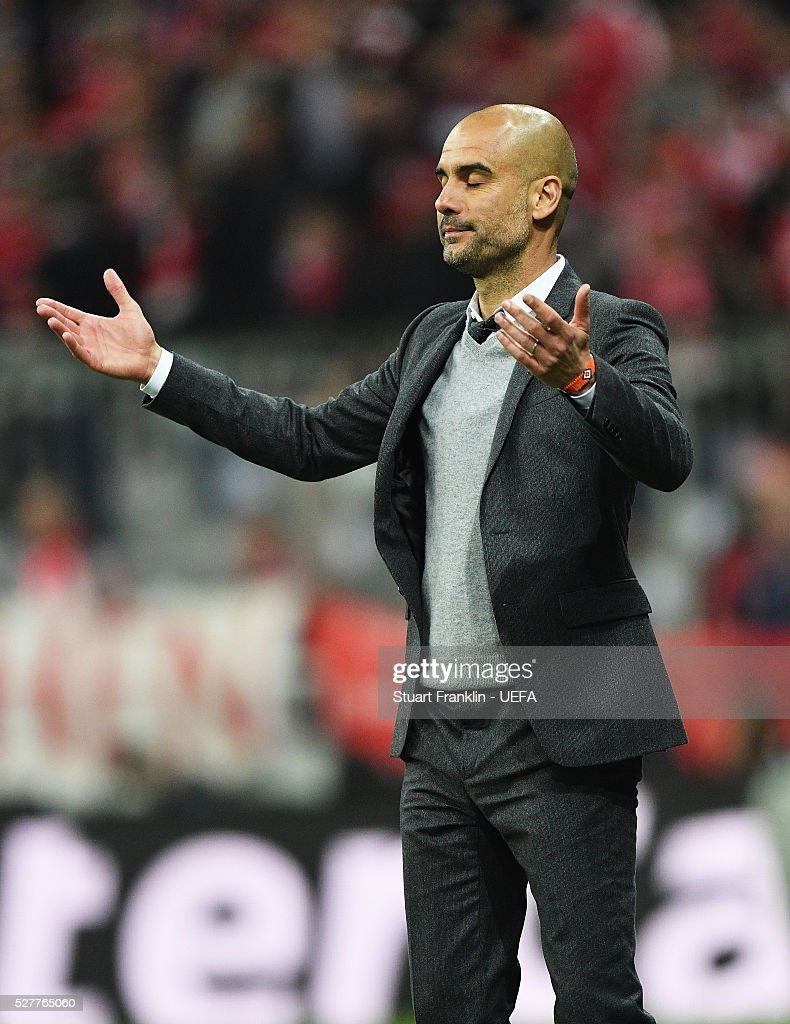 Josep Guardiola, head coach of Muenchen reacts during the UEFA Champions League Semi Final second leg match between FC Bayern Muenchen and Club Atletico de Madrid at the Allianz Arena on May 03, 2016 in Munich, Bavaria.