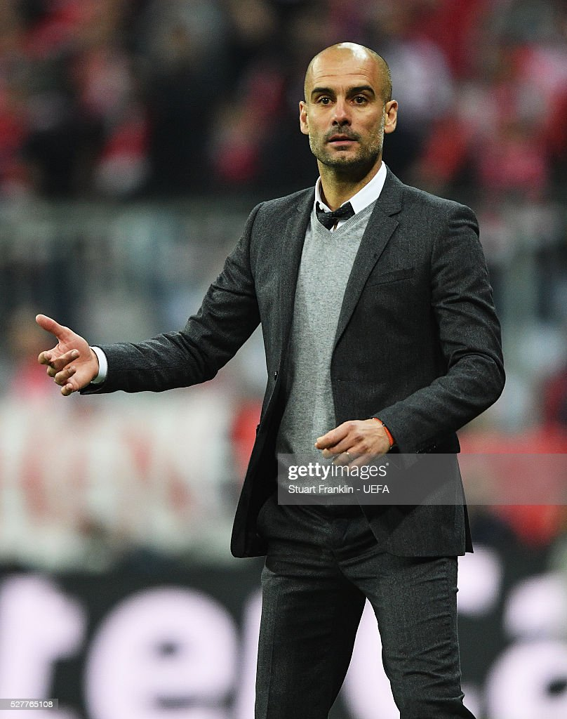 <a gi-track='captionPersonalityLinkClicked' href=/galleries/search?phrase=Josep+Guardiola&family=editorial&specificpeople=2088964 ng-click='$event.stopPropagation()'>Josep Guardiola</a>, head coach of Muenchen reacts during the UEFA Champions League Semi Final second leg match between FC Bayern Muenchen and Club Atletico de Madrid at the Allianz Arena on May 03, 2016 in Munich, Bavaria.