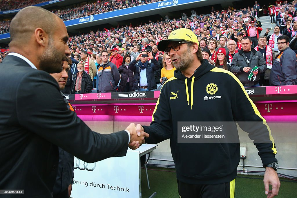 <a gi-track='captionPersonalityLinkClicked' href=/galleries/search?phrase=Josep+Guardiola&family=editorial&specificpeople=2088964 ng-click='$event.stopPropagation()'>Josep Guardiola</a>, head coach of Muenchen shake hands with Juergen Klopp (R), head coachof Dortmund prior to the Bundesliga match between FC Bayern Muenchen and BVB Borussia Dortmund at Allianz Arena on April 12, 2014 in Munich, Germany.