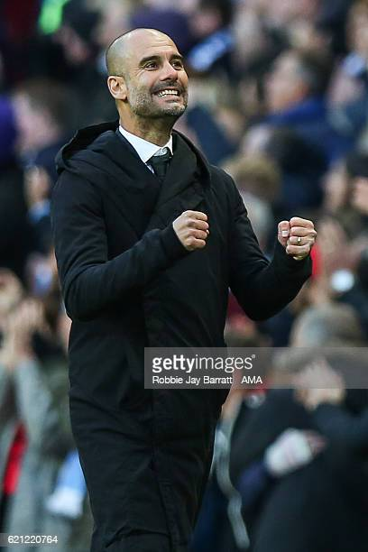 Josep Guardiola manager / head coach of Manchester City celebrates during the Premier League match between Manchester City and Middlesbrough at...