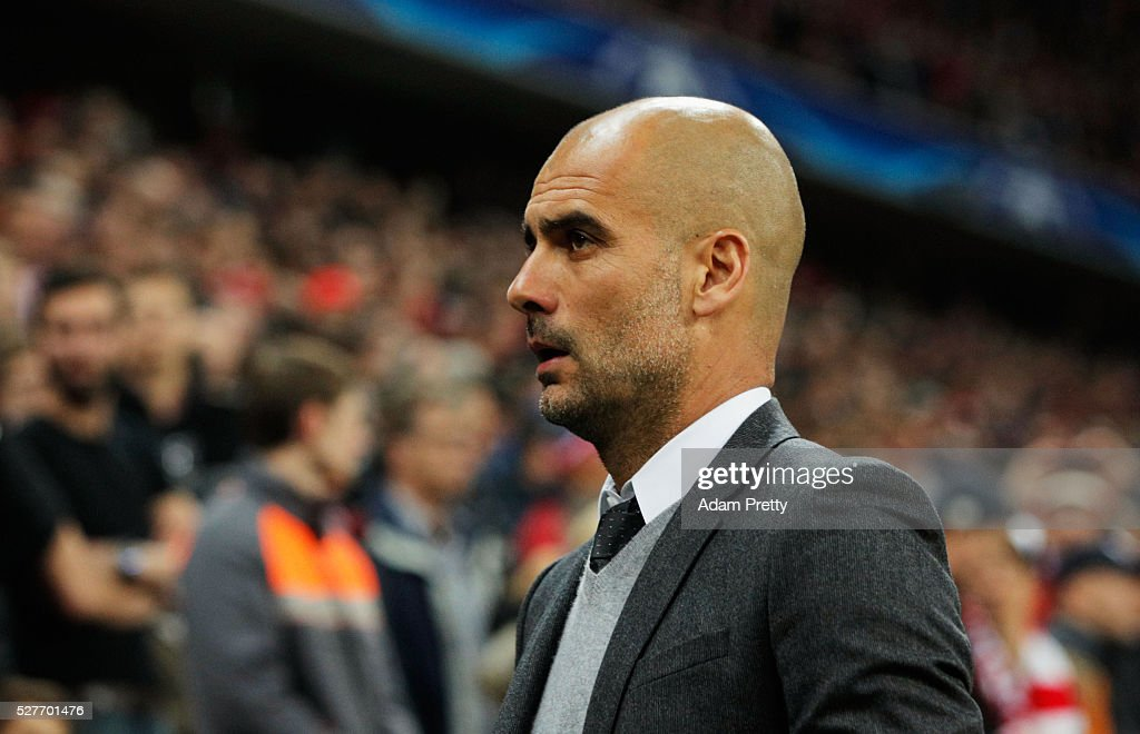 Josep Guardiola manager of Bayern Munich looks on prior to the UEFA Champions League semi final second leg match between FC Bayern Muenchen and Club Atletico de Madrid at Allianz Arena on May 3, 2016 in Munich, Germany.