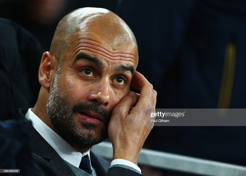 <a gi-track='captionPersonalityLinkClicked' href=/galleries/search?phrase=Josep+Guardiola&family=editorial&specificpeople=2088964 ng-click='$event.stopPropagation()'>Josep Guardiola</a> manager of Bayern Munich looks thoughtful prior to the UEFA Champions League Group F match between Arsenal FC and FC Bayern Munchen at Emirates Stadium on October 20, 2015 in London, United Kingdom.