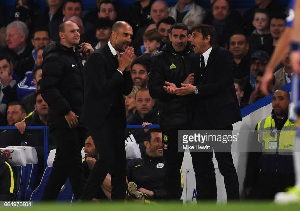 Josep Guardiola Manager of Manchester City and Antonio Conte Manager of Chelsea argue during the Premier League match between Chelsea and Manchester...