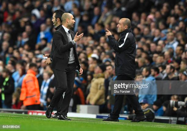Josep Guardiola manager of Manchester City and Leonardo Jardim head coach of AS Monaco argue on the touchline during the UEFA Champions League Round...