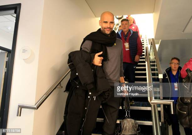 Josep Guardiola Manager of Manchester City arrives to the stadium prior to the UEFA Champions League group F match between Manchester City and...