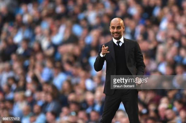 Josep Guardiola Manager of Manchester City gestures during the Premier League match between Manchester City and Hull City at Etihad Stadium on April...