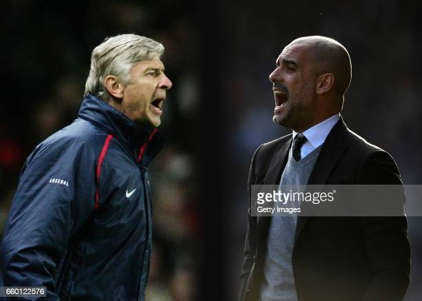 GRADIENT ADDED COMPOSITE OF TWO IMAGES Image numbers 72336772 and 642590956 In this composite image a comparision has been made between Arsene Wenger...