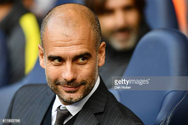Josep Guardiola Manager of Manchester City looks on during the Premier League match between Tottenham Hotspur and Manchester City at White Hart Lane...