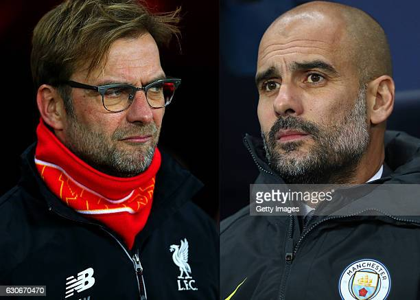 COMPOSITE OF TWO IMAGES Image numbers 502929058 and 629845764 In this composite image a comparision has been made between Jurgen Klopp manager of...