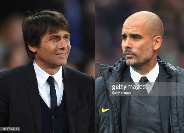 COMPOSITE OF TWO IMAGES Image numbers 648790494 and 624347152 In this composite image a comparision has been made between Antonio Conte Manager of...