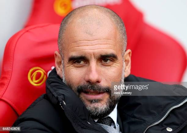 Josep Guardiola Manager of Manchester City looks on prior to the Premier League match between Sunderland and Manchester City at Stadium of Light on...