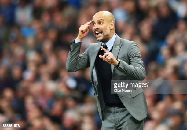 Josep Guardiola Manager of Manchester City reacts during the Premier League match between Manchester City and West Bromwich Albion at Etihad Stadium...