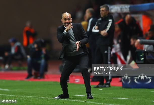 Josep Guardiola manager of Manchester City reacts during the UEFA Champions League Round of 16 second leg match between AS Monaco and Manchester City...
