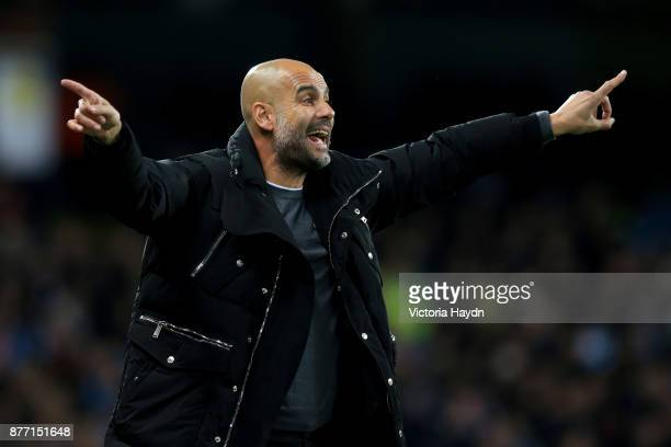 Josep Guardiola Manager of Manchester City reacts during the UEFA Champions League group F match between Manchester City and Feyenoord at Etihad...
